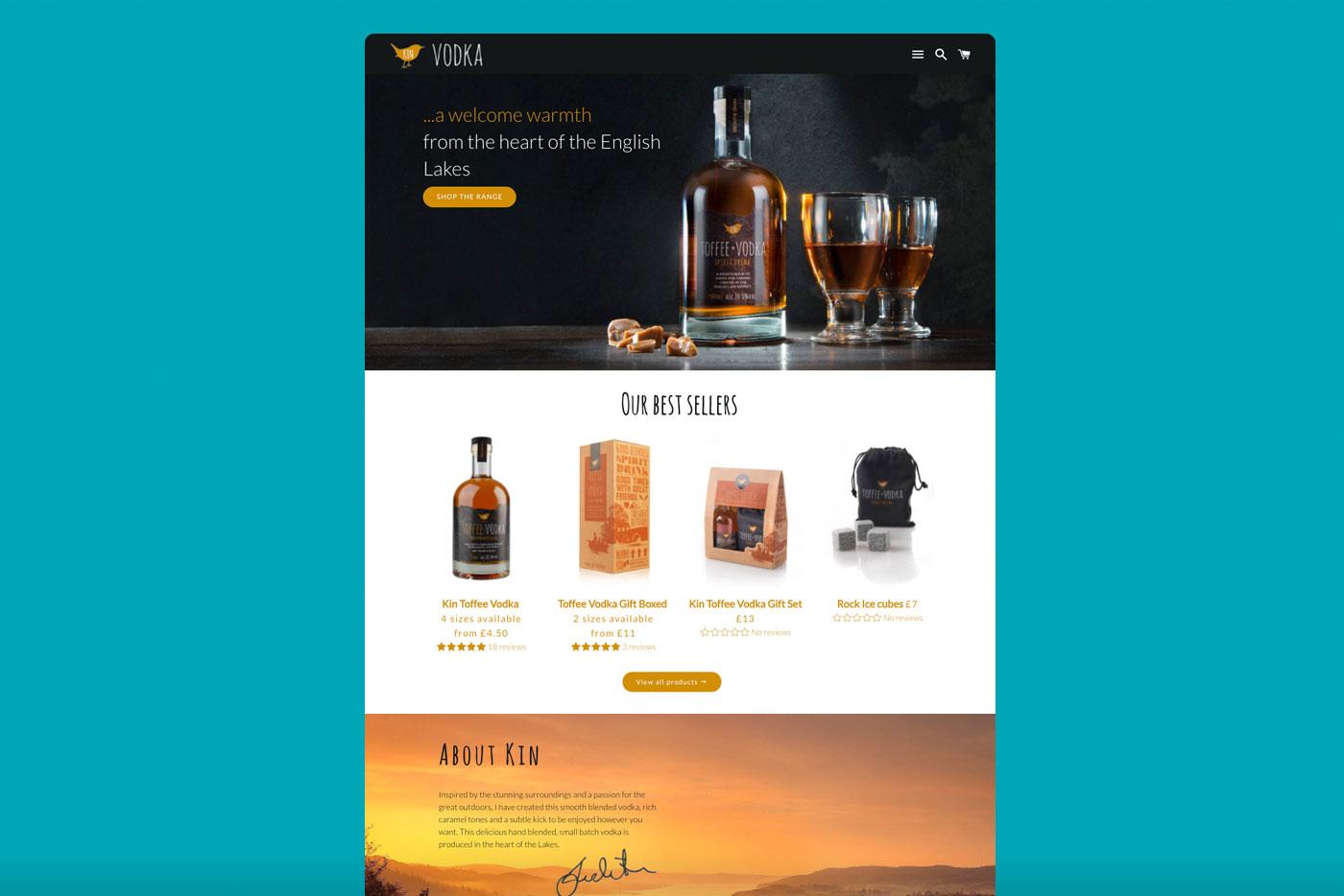 website-design-for-kin-vodka-cumbria-shopify