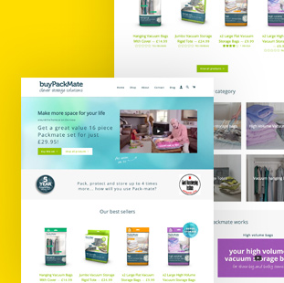 shopify ecommerce webdesign for packmate