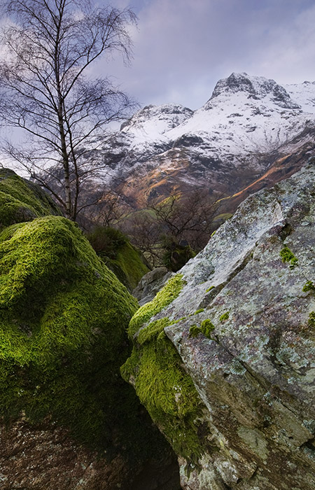A snowy mountain scene in our landscape photography